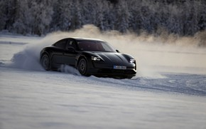 Picture snow, black, Porsche, on the track, 2020, Taycan, Taycan 4S