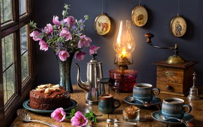 Picture flowers, lamp, bouquet, cake, mugs, anemones, coffee grinder, coffee pot