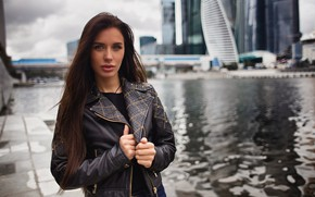 Picture look, water, girl, hair, skyscrapers, Moscow, business centre, Alexander Tsarev