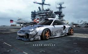 Picture Auto, Aircraft, Machine, Grey, Art, Porsche 911, F/A-18, The carrier, Concept Art, Sports car, McDonnell …