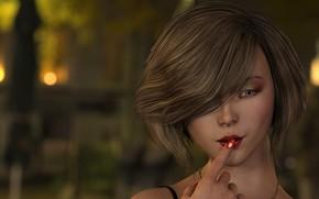 Picture girl, portrait, lipstick