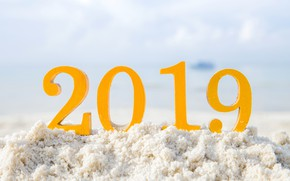 Picture snow, New Year, figures, snow, New Year, decoration, Happy, 2019