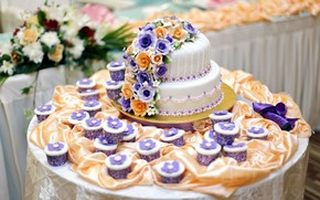 Picture flowers, table, cake, decoration, wedding, decor, cupcakes, cupcakes