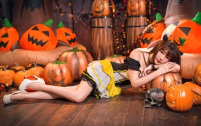 Wallpaper girl, skull, pumpkin, Halloween, Asian, cutie, 31 Oct