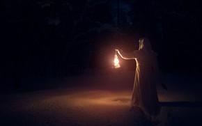 Picture winter, forest, girl, snow, night, darkness, lantern