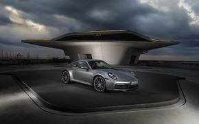 Picture coupe, 911, Porsche, cloudy, Carrera 4S, 992, 2019