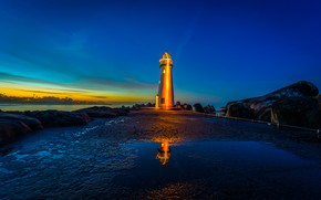 Picture sea, sunset, stones, lighthouse, CA, California, Santa Cruz, Santa Cruz, Walton Lighthouse, Monterey Bay, Monterey …