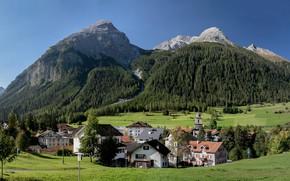 Picture trees, mountains, home, Switzerland, valley, village, Alps, Switzerland, The bergu, Bergün, Albula Alps