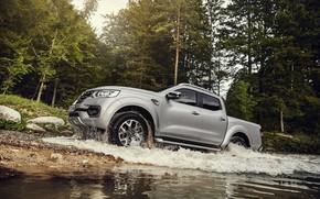 Picture water, stones, shore, Renault, pickup, 4x4, 2017, Alaskan, drains, gray-silver