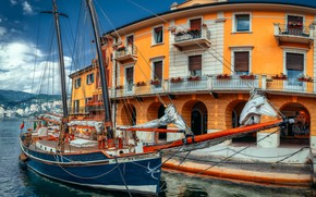 Picture lake, the building, sailboat, pier, Italy, Italy, Lake Garda, Malcesine, Garda, Malcesine, Александр Безмолитвенный