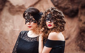 Picture background, two, portrait, makeup, mask, model, hairstyles, in black, brown-haired women, bokeh, dresses, Anton Harisov, …