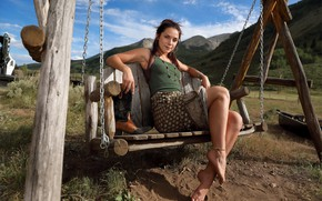 Picture dirt, sky, hot girl, nature, clouds, outside, countryside, exotic, posing, skirt, boots, chains, beautiful face, …