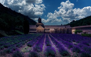 Picture field, summer, the sky, clouds, trees, flowers, nature, castle, hills, France, architecture, a lot, the …