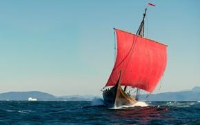 Picture sea, shore, sailboat, North