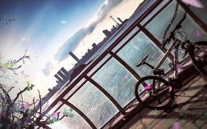 Picture bike, lake, art