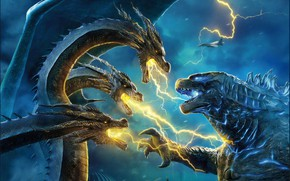 Picture Action, Fantasy, Clouds, Dragon, Fire, Monster, Blue, Lightning, the, Rain, The, year, Godzilla, Rising, Legendary, …