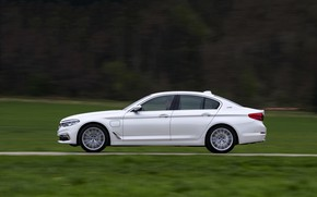 Picture white, BMW, profile, sedan, hybrid, 5, four-door, 2017, 5-series, G30, 530e iPerformance