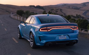 Picture sunset, the evening, Dodge, rear view, Charger, Hellcat, SRT, Widebody, 2019, Daytona 50th Anniversary