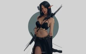 Picture girl, elf, Archer, fantasy