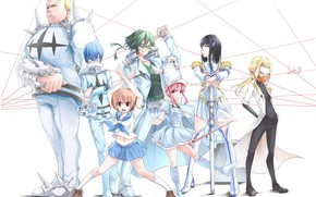 Picture anime, art, white background, characters, Kill La Kill, Smash slash
