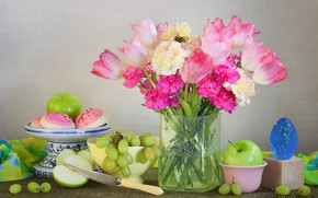 Picture flowers, style, apples, bouquet, grapes, knife, tulips, vase, still life, cakes, clove