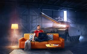 Picture Sofa, Smile, Laptop, Guy, Hangar, Games, Tank, Sitting, World of tanks, World of Tanks, WOT, …