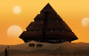 Picture The sun, Figure, Stars, Pyramid, Silhouette, Landscape, Art, Landscapes, Digital Art, TacoSauceNinja, by TacoSauceNinja, Selling ...
