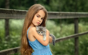 Picture look, baby, friendship, girl, kitty, friends, long hair