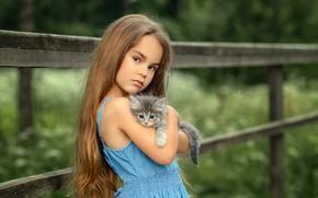 Wallpaper look, baby, friendship, girl, kitty, friends, long hair
