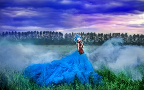 Picture greens, field, forest, summer, the sky, grass, girl, clouds, clouds, nature, pose, fog, style, fantasy, …