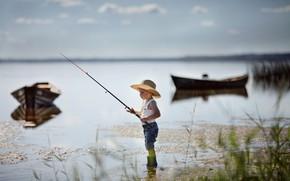 Picture nature, lake, fishing, fisherman, boats, boy, baby, child, angler, Valeria Kasperova