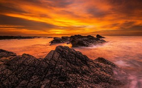 Picture sea, the sky, the sun, clouds, sunset, bright, stones, rocks, paint, shore, bright, color, the …