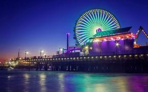 Picture night, lights, CA, Ferris wheel, USA, Pier Santa Monica