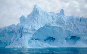 Picture winter, sea, clouds, snow, blue, ice, iceberg, top, floe, shade, lump, Greenland, block of ice