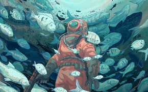Picture The ocean, Fish, Sea, Figure, Fish, Style, Fish, The diver, Costume, Art, Art, Style, Ocean, …