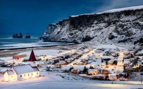 Picture winter, snow, the ocean, rocks, coast, home, village, Church, Iceland, Iceland, The Atlantic ocean, Atlantic …