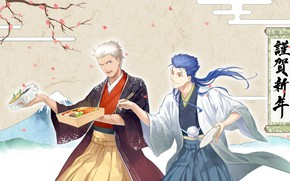 Picture flowers, background, Japan, Sakura, guys, Lancer, Bento, Archer, Fate stay night, Fate / Stay Night