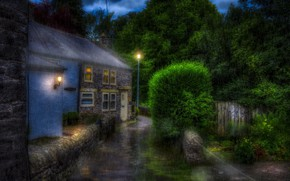 Picture rain, street, England, High Peak District