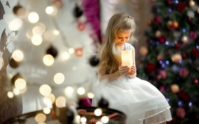 Picture new year, candle, girl, tree, child, bokeh, Maxim Curlew