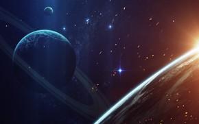 Picture Sunrise, Stars, Planet, Space, Star, Planet, Sparks, Planets, Ring, Star, Art, Stars, Space, Blik, Art, …