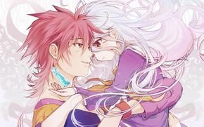 Picture anime, art, two, hug, No Game No Life, the chess
