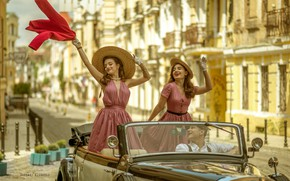 Picture machine, auto, pose, retro, mood, hat, dress, driver, hat, guy, convertible, two girls, Gennady Klimenko