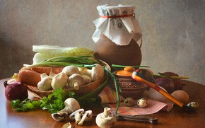 Picture table, mushrooms, egg, bow, spoon, knife, dishes, pitcher, still life, vegetables, carrots, cabbage, pot