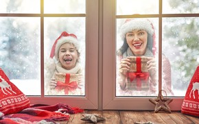 Picture winter, girl, joy, window, girl, gifts, New year
