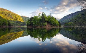 Picture mountains, lake, germany, bavaria, perfect reflection