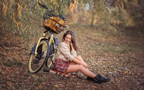Picture autumn, leaves, girl, branches, nature, bike, skirt, brown hair, plaid, sweater, ankle boots, Victoria Dubrovskaya