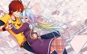 Picture anime, art, hugs, girl, guy, two, No Game No Life, No game no life