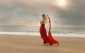 Picture sea, girl, the wind, shore, dress, Anne Costello
