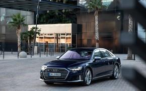 Picture blue, Audi, sedan, structure, Audi A8, Audi S8, 2020, 2019, V8 Biturbo