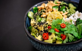 Picture greens, lemon, food, bowl, fruit, vegetables, parsley, salad